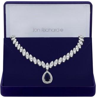 Jon Richard Cubic Zirconia Baguette Navette Sapphire Pear Drop Necklace