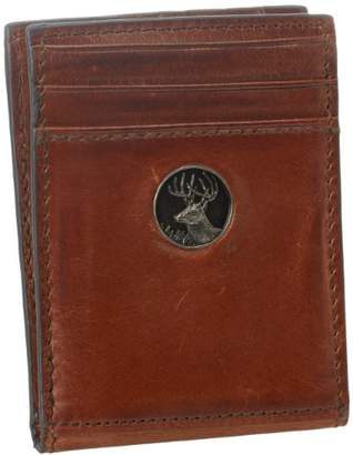 Weber's Leathers Men's Brown Front Pocket Wallet with Buck Concho