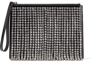 Christopher Kane Crystal-embellished Patent-leather Clutch - Black