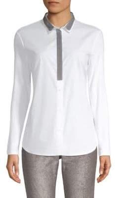 Peserico Contrast Collar Poplin Shirt