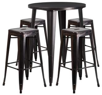 """Flash Furniture 30"""" Round Black-Antique Gold Metal Indoor-Outdoor Bar Table Set with 4 Square Seat Backless Barstools"""