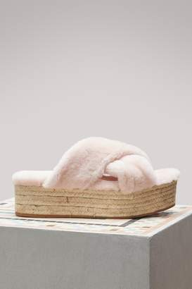 Miu Miu Fur Flat Sandals