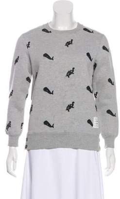 Thom Browne Embroidered Crew Neck Sweater Grey Embroidered Crew Neck Sweater