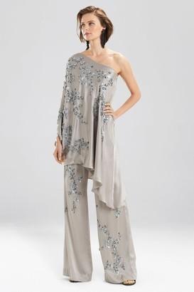 Natori Couture Floral One-Shoulder Caftan