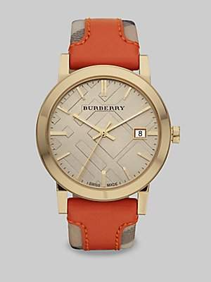 Burberry Watch, Women's Swiss Haymarket Check Fabric and Smooth Orange Leather Strap 38mm BU9016