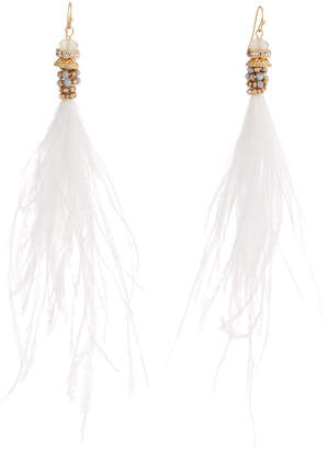 Panacea Feather Tassel Drop Earrings, White