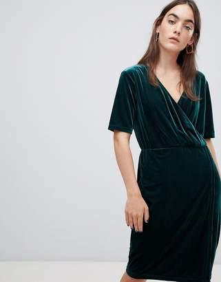 B.young Velvet Wrap Dress