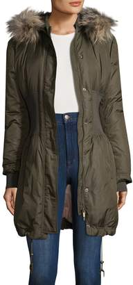 Roberto Cavalli Women's Faux Fur-Trimmed Ribbed Parka