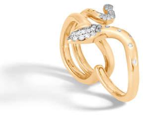 John Hardy 18k Legends Cobra Two-Finger Ring w/ Diamonds, Size 7