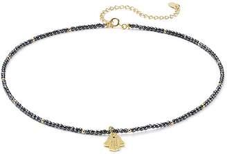 "Aqua Sterling Silver Beaded Hamsa Choker Necklace, 14"" - 100% Exclusive"