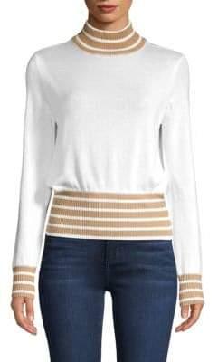 ENGLISH FACTORY Striped Mockneck Sweater