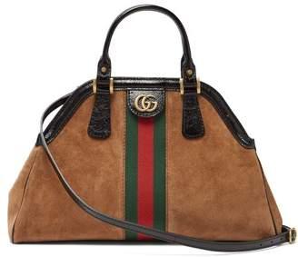 Gucci Re(belle) Web Stripe Suede Cross Body Bag - Womens - Tan Multi