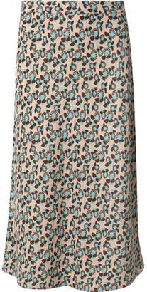 Marni Plumeria Floral-print Crepe Midi Skirt - Blue