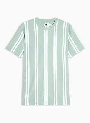 Topman Mens Green Stripe Pique T-Shirt