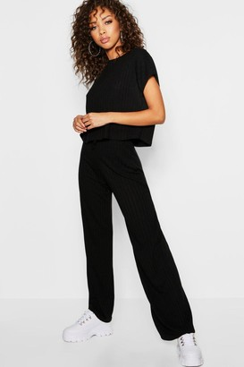 boohoo Rib Oversized T-Shirt + Drawcord Culotte Co-Ord