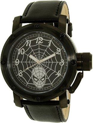 Disney (ディズニー) - Disneyメンズスパイダーマンspm149ブラックレザークォーツ腕時計