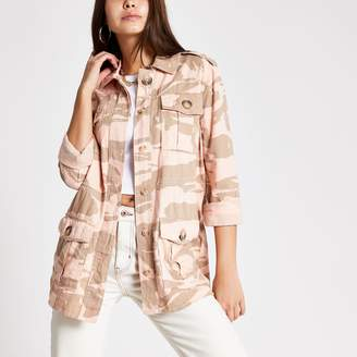 River Island Womens Pink camo long sleeve fitted shacket