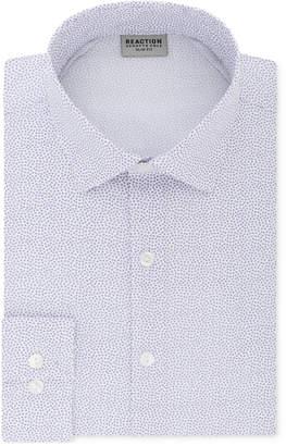 Kenneth Cole Reaction Men's Techni-Cole Slim-Fit Three-Way Stretch Performance Purple Pattern Dress Shirt