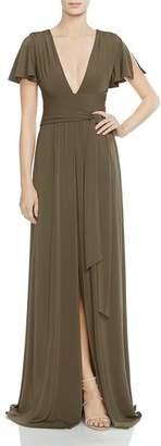 Halston Flutter-Sleeve Jersey Gown