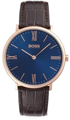 BOSS Slim Jackson Leather Strap Watch, 40mm