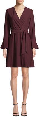 Neiman Marcus V-Neck Bell-Sleeve Clip Dot Surplice Dress w/ Belt