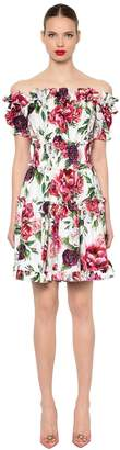 Dolce & Gabbana Off The Shoulder Floral Poplin Dress