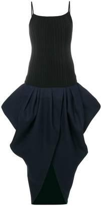 gathered skirt slit dress
