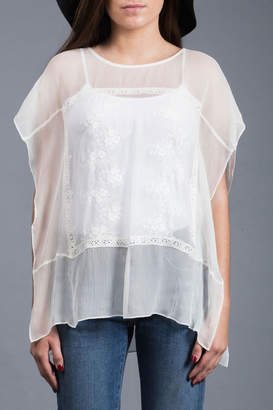 Zoa Embroidered Silk Top
