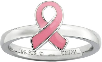 Simply Stacks Sterling Pink Awareness Ribbon Ring