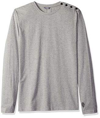 ROBUST Men's Grey Melange Side Button Full Sleeve T-Shirt (Size-)
