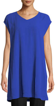 Eileen Fisher Cap-Sleeve Silk Crepe Tunic w/ Pockets