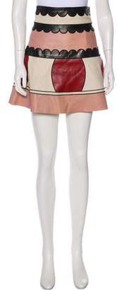 RED Valentino Leather Flared Printed Mini Skirt
