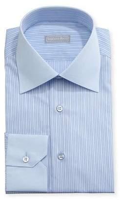 Stefano Ricci Striped Solid-Collar Dress Shirt, Blue