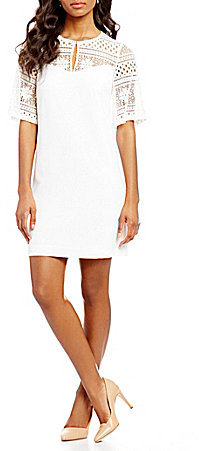 Adrianna PapellAdrianna Papell Lace Yoke Textured Woven Sheath Dress