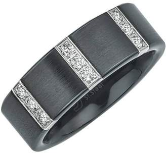 Armani Exchange Jewelry Men's 0.25 Carat T.W. Diamond Satin Black Ceramic Wedding Band (H-I I3)