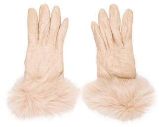 Neiman Marcus Leather Fur Gloves