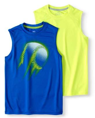 Athletic Works Boys' Sleeveless Muscle T-Shirt Value 2 Pack