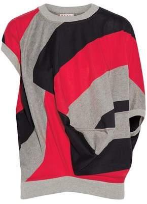 Marni Draped Striped Cotton-Blend Jersey Top