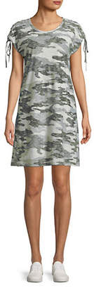 Vince Camuto Lace-Up Camouflage Cotton T-Shirt Dress