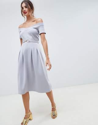 Bardot Asos Design ASOS DESIGN sweetheart neck midi dress with belt