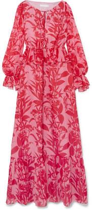 Borgo De Nor Lily Marquesa Ruffle-trimmed Printed Silk-georgette Maxi Dress