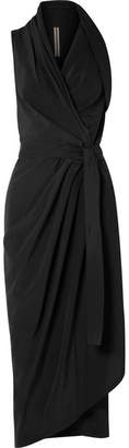 Rick Owens Wrap-effect Silk Halterneck Midi Dress - Black