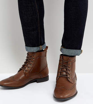 Asos Wide Fit Brogue Boots In Tan Faux Leather
