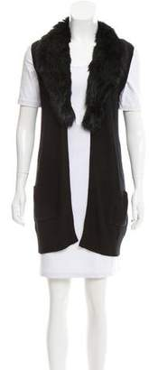 Joie Fur-Trimmed Ribbed Vest