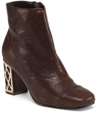 a370c4fcd180 at TJ Maxx · Leather Ankle Booties With Heel Detail