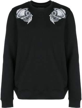 Frankie Morello skull shoulder print sweatshirt