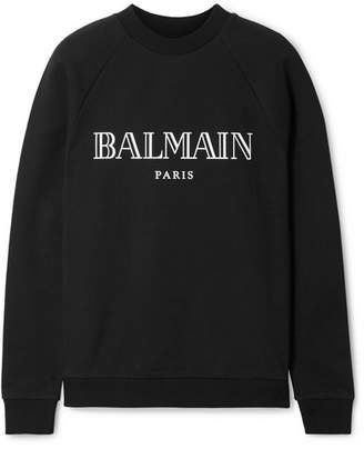 Balmain Printed Cotton-jersey Sweatshirt - Black