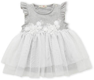 Mae Li Rose (Infant Girls) Flutter Floral Applique Tutu Dress