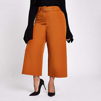 River Island Womens Plus Brown belted culottes