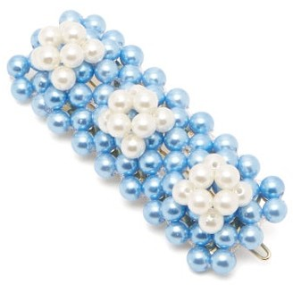 Shrimps - Antonia Bead Embellished Hair Clip - Womens - Blue